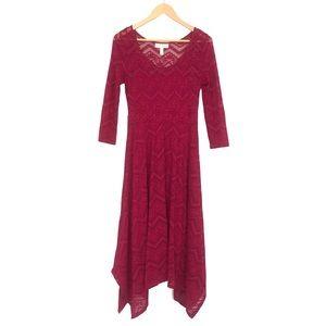 Jessica Simpson Maternity Maroon Lace Maxi Dress